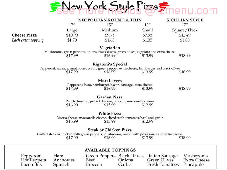 Rigatoni S Pizzeria Italian Restaurant Pilot Mountain Nc