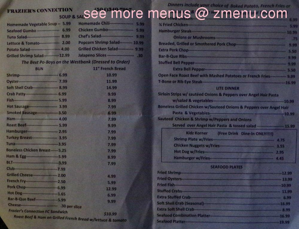 Cold Sun Cafe Menu