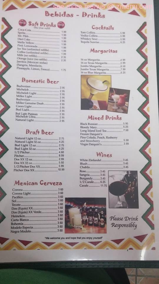 Online Menu Of El Tenampa Mexican Restaurant Restaurant