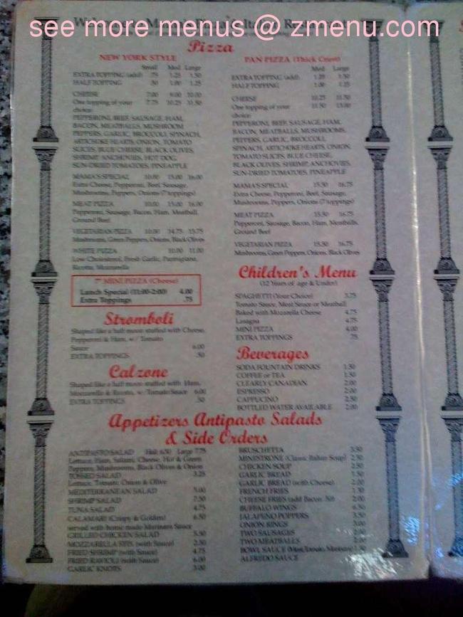 Online Menu Of Mamas Pizza Italian Restaurant Restaurant