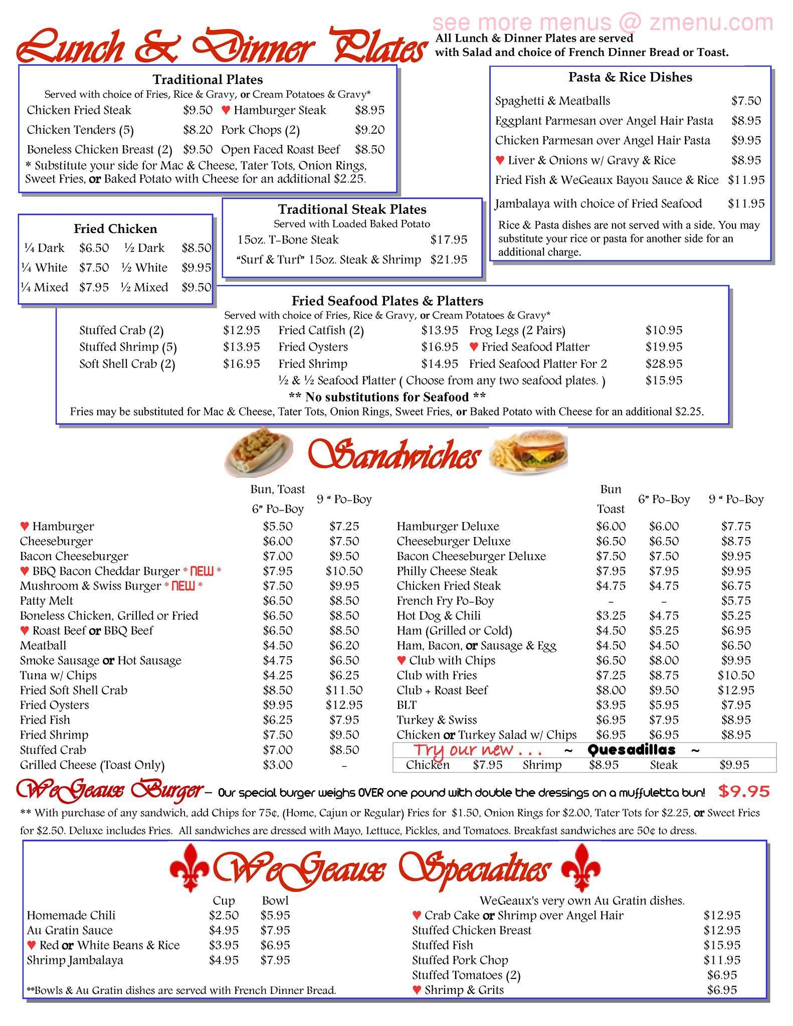 Joe S Cafe Westwego Menu