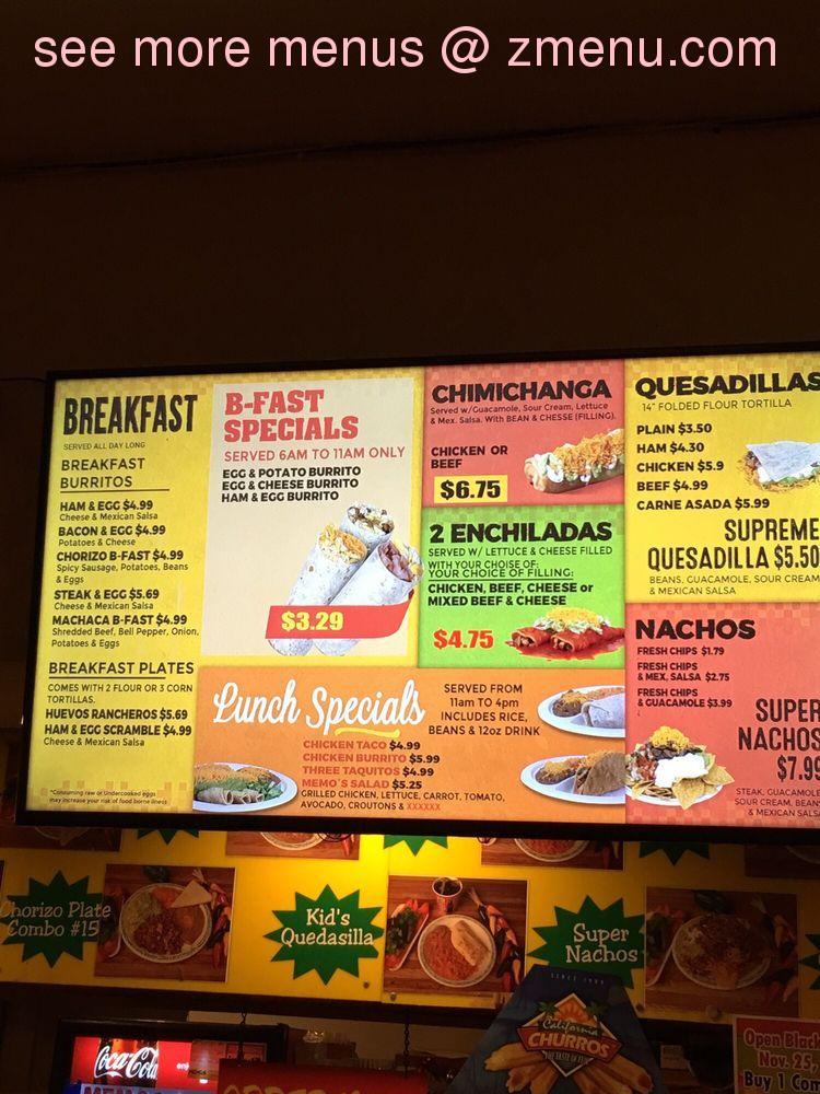 online menu of memo s mexican food restaurant restaurant tacoma