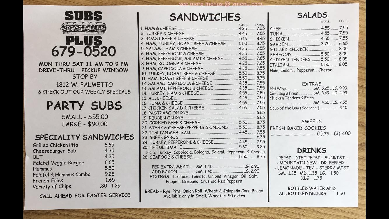 Online Menu of Subs Plus Restaurant, Florence, South ...