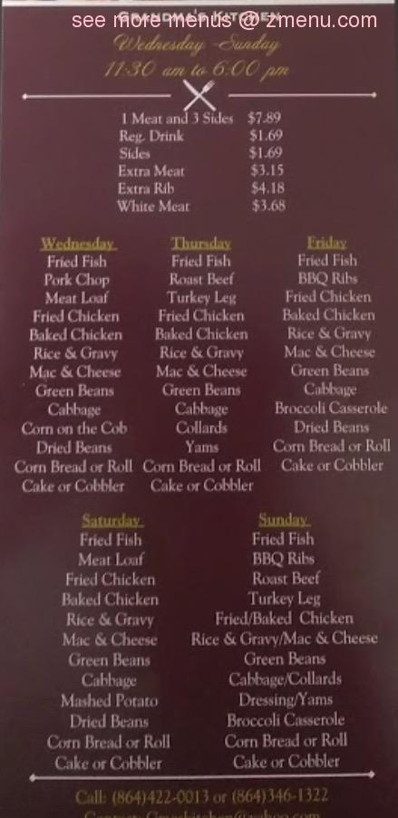 Online Menu Of Grandmas Kitchen Restaurant Greenville