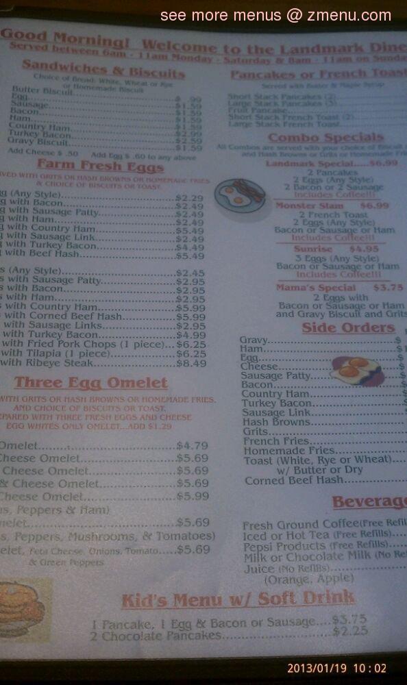 Online Menu Of Landmark Diner Restaurant Greer South