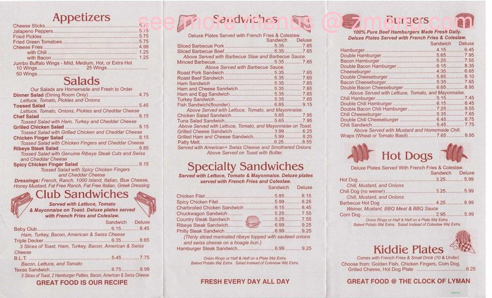 Online Menu Of Clock Restaurant Of Lyman Restaurant Lyman South Carolina 29365 Zmenu