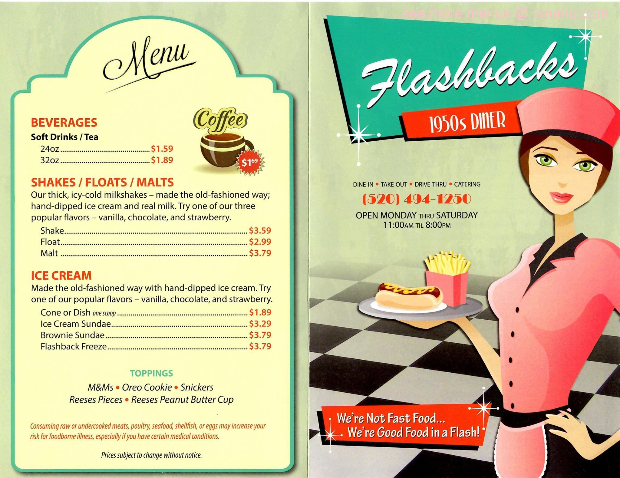 Online Menu of Flashbacks Diner Restaurant, Arizona City