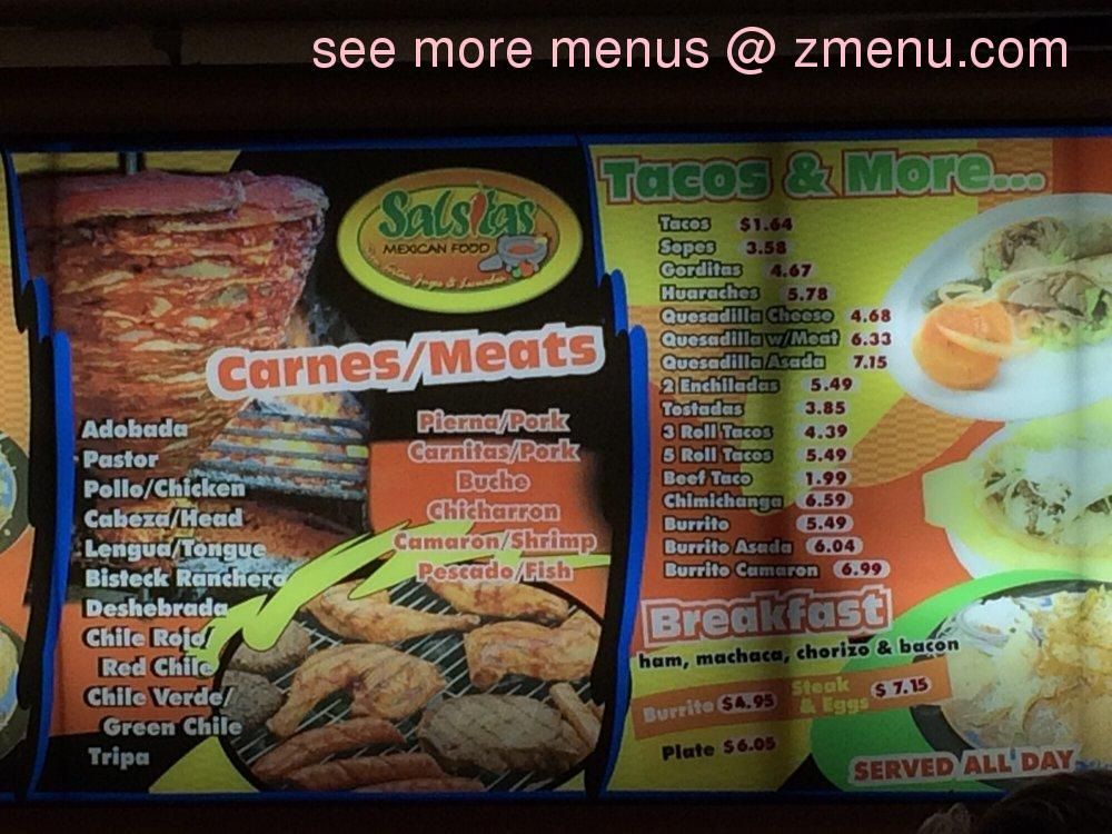 Salsitas Mexican Food Menu