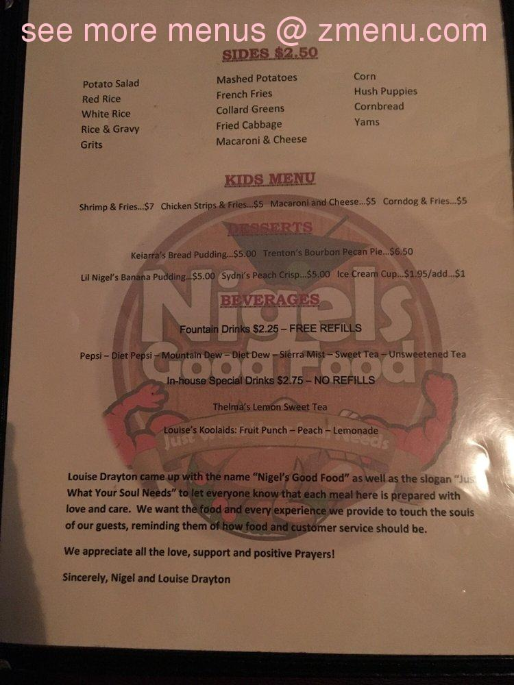 Online Menu of Nigels Good Food Restaurant, Summerville