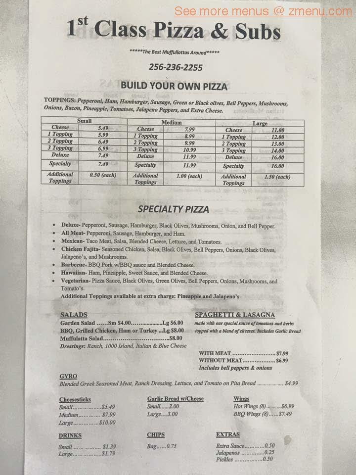 Online Menu Of 1st Class Pizza Restaurant Anniston Alabama