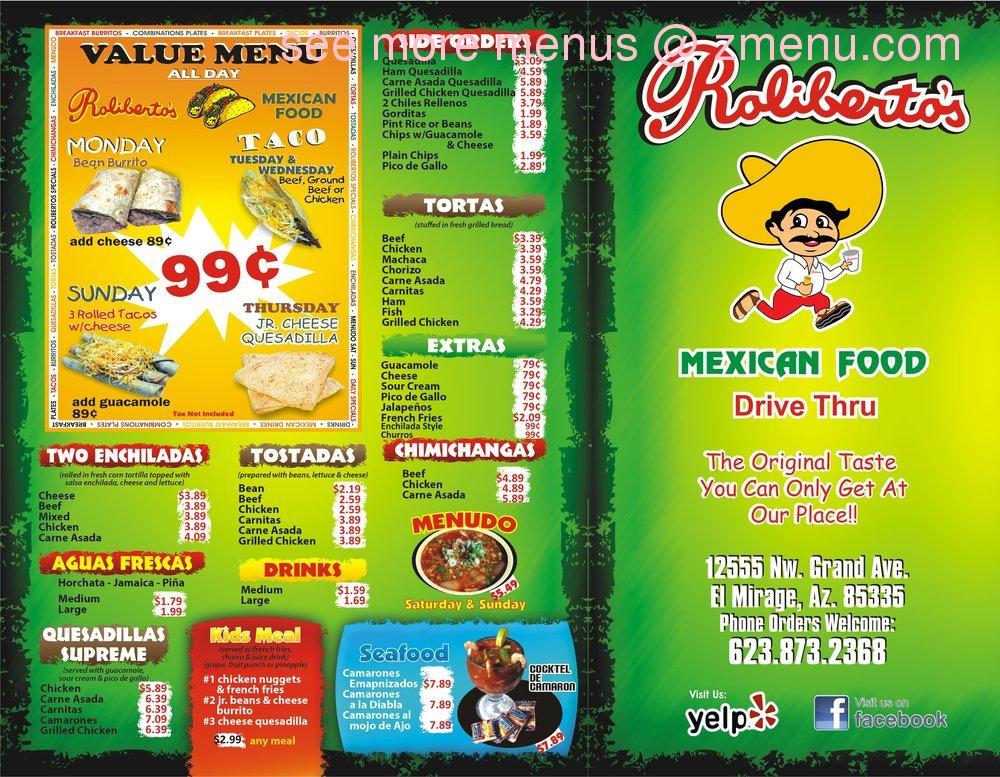 Mexican Food Restaurant Menu