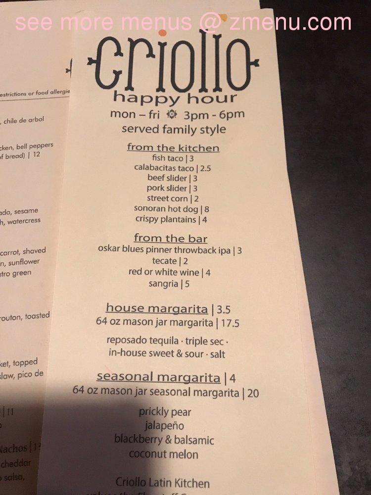 Online Menu Of Criollo Latin Kitchen Restaurant Flagstaff Arizona 86001 Zmenu