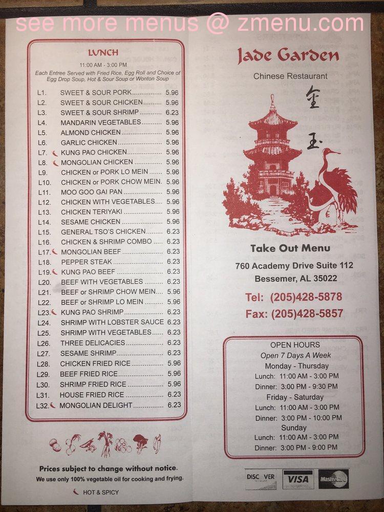 Online Menu Of Jade Garden Chinese Restaurant Restaurant Bessemer Alabama 35022 Zmenu