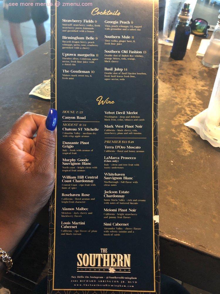 Online Menu Of The Southern Kitchen Bar Restaurant Birmingham Alabama 35203 Zmenu