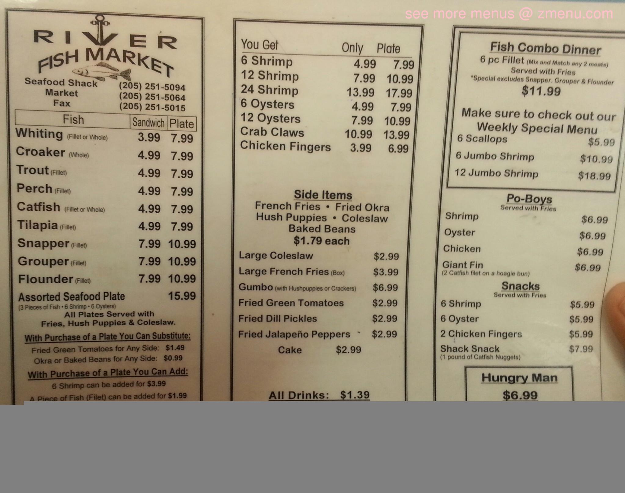 Online Menu of River Fish Market Restaurant, Birmingham, Alabama, 35234 - Zmenu