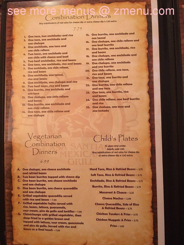 Online Menu Of Casa Santiago Mexican Grill Restaurant Decatur Alabama 35603 Zmenu