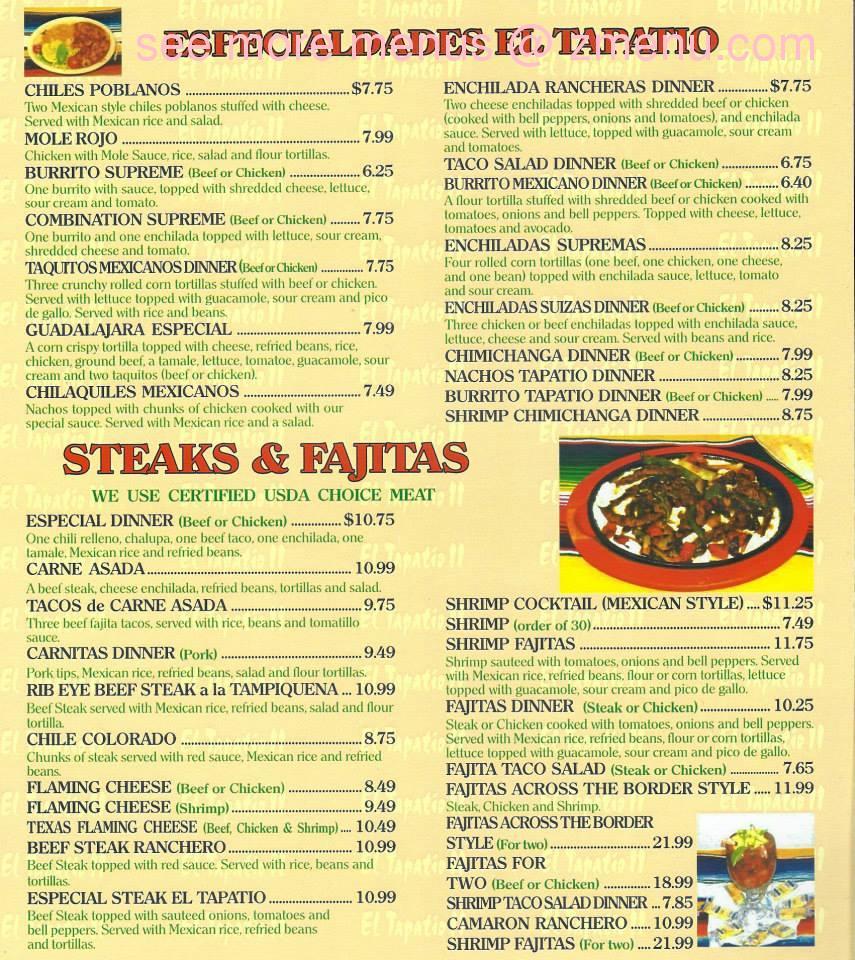 Online Menu Of El Tapatio Mexican Ii