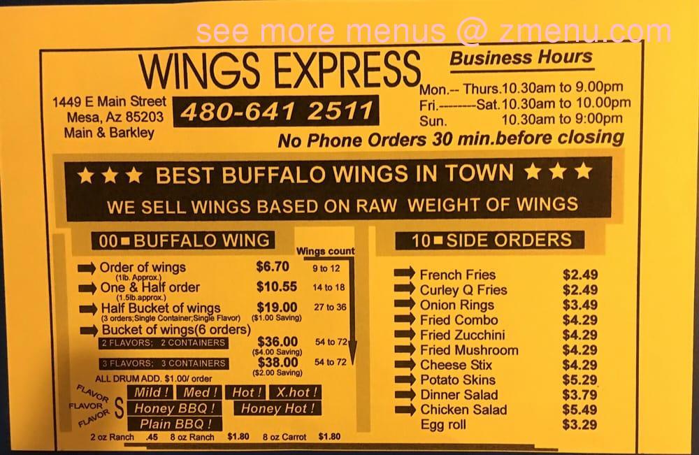 Online Menu Of Wings Express Restaurant Mesa Arizona 85204 Zmenu