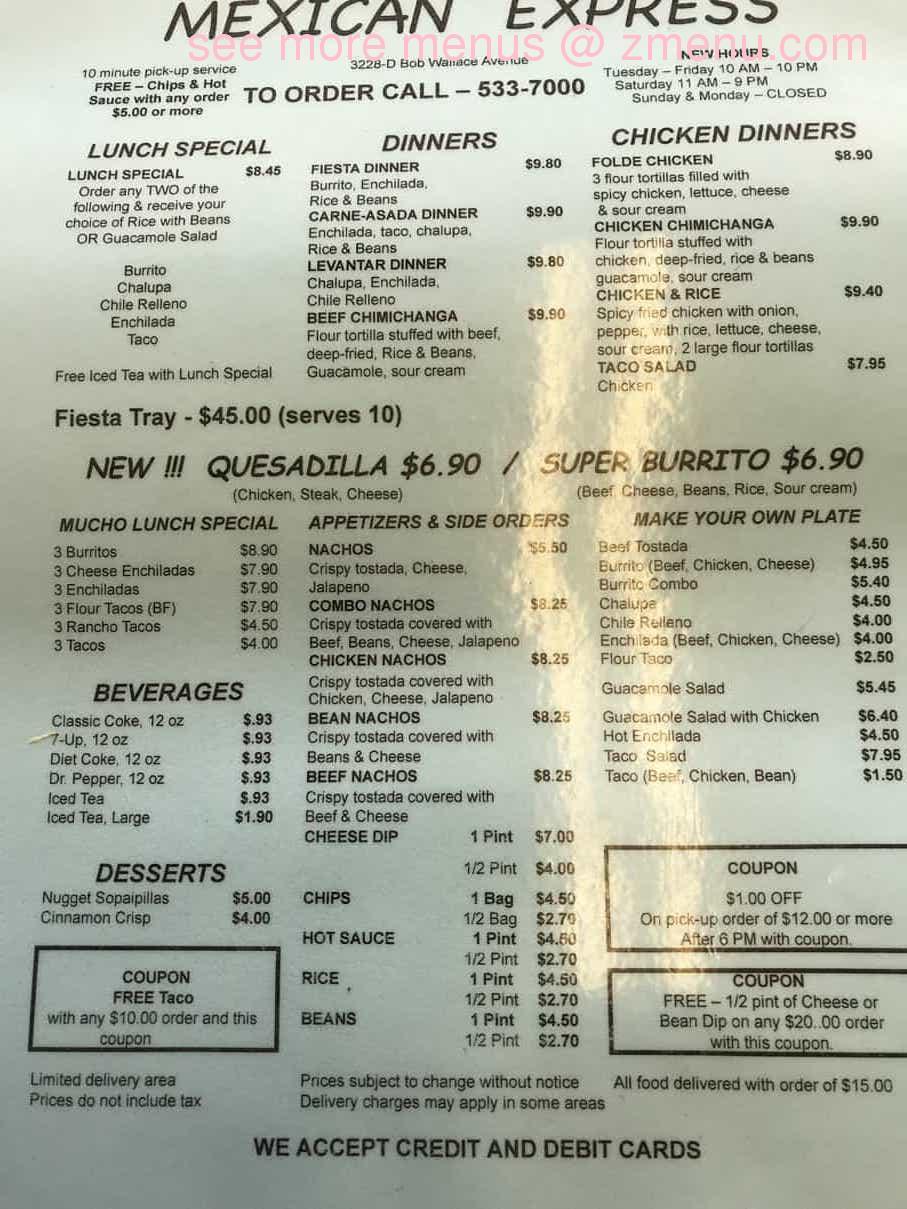 Online Menu Of Mexican Express Restaurant Huntsville Alabama 35805 Zmenu