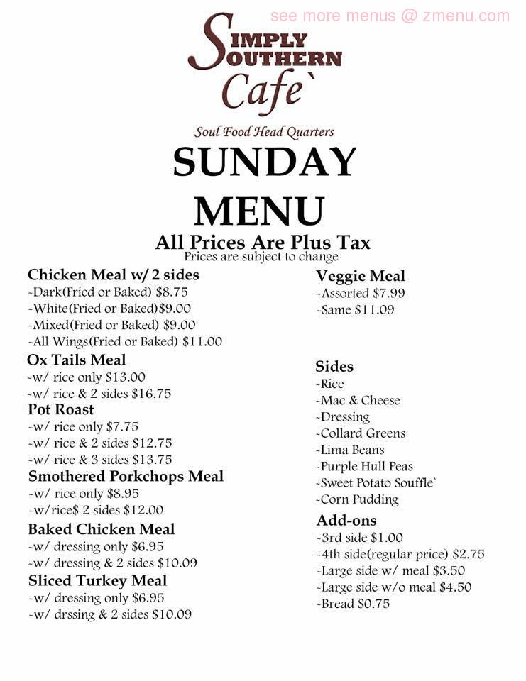 Online Menu Of Simply Southern Cafe Restaurant Montgomery Alabama