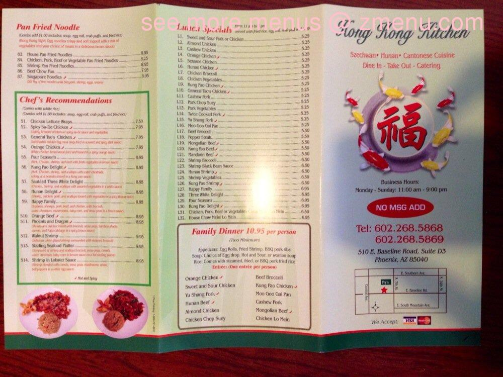 Hong Kong Kitchen Menu Phoenix Az