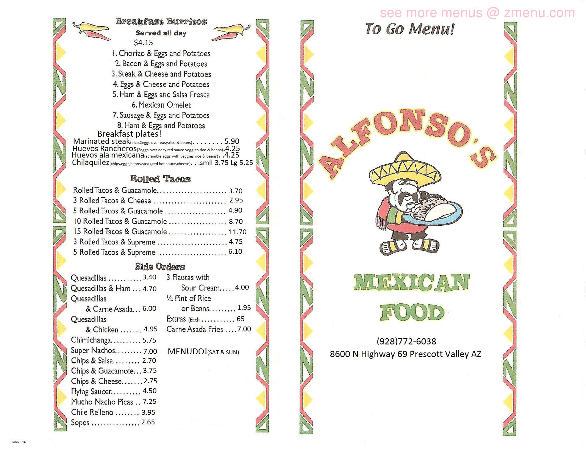 Online Menu Of Alfonso S Mexican Food Restaurant Prescott