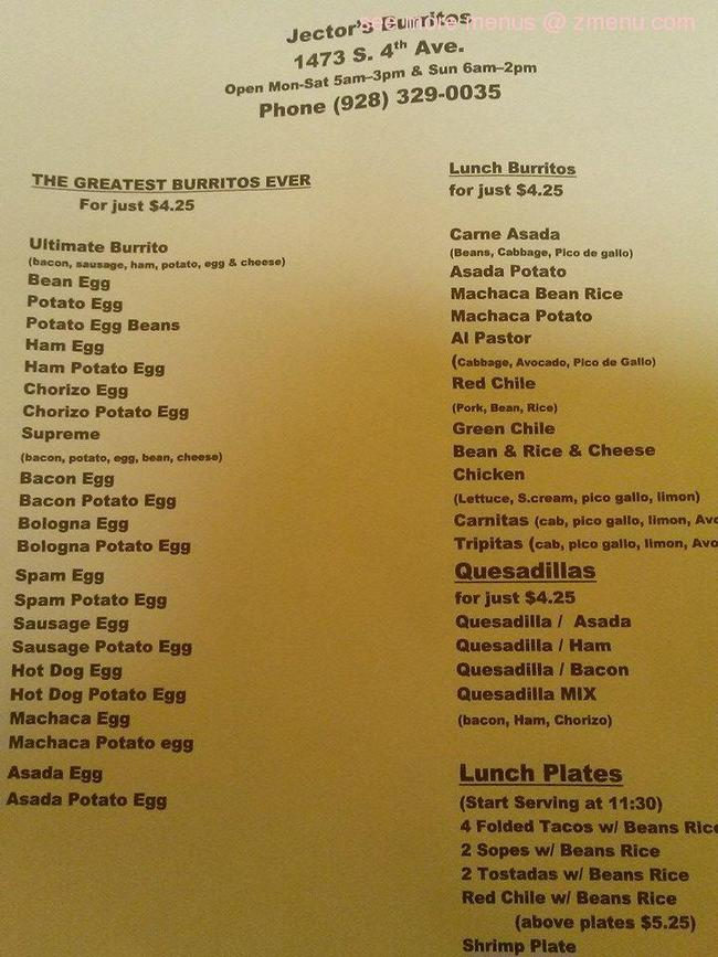 Online Menu Of Jectors Too Restaurant Yuma Arizona