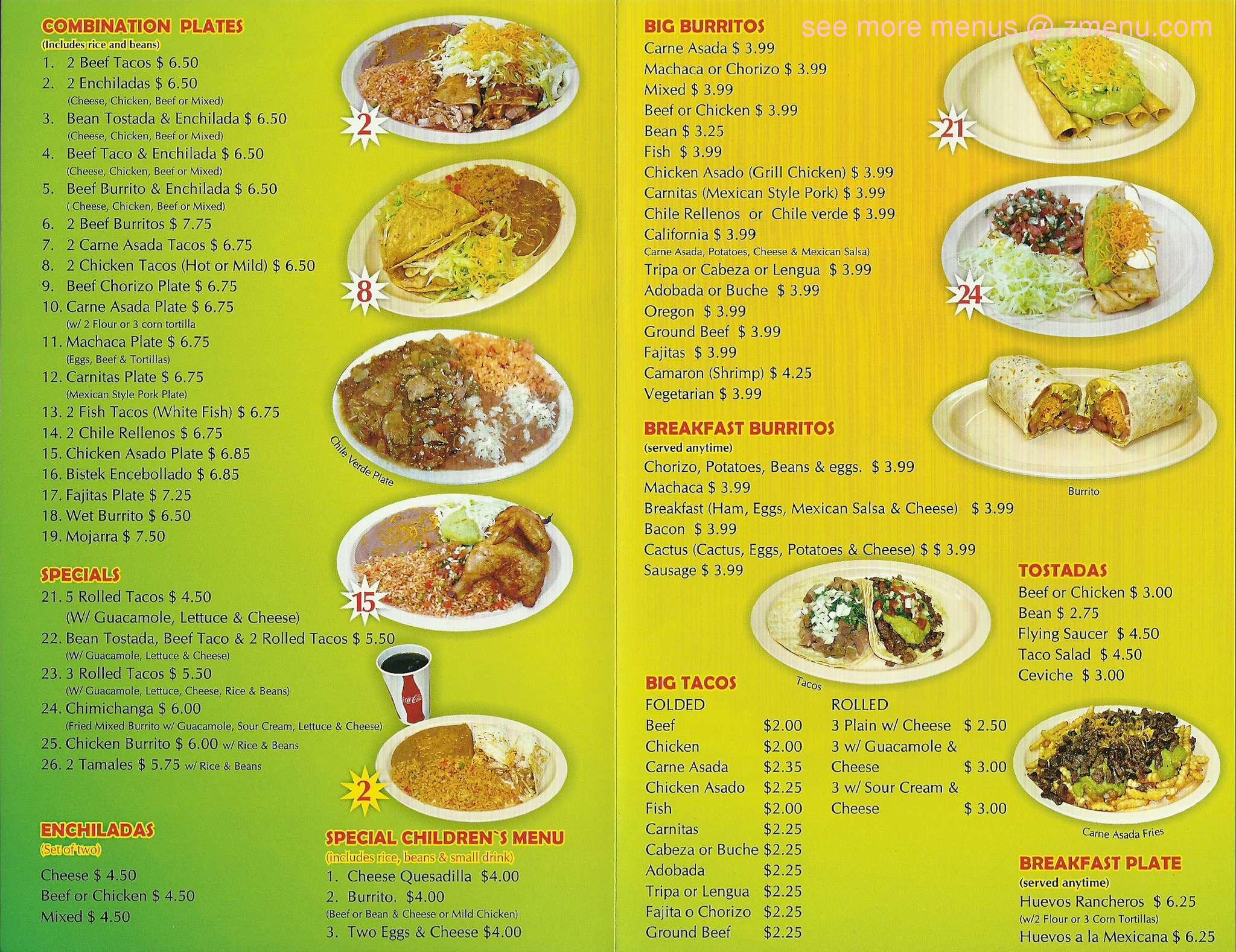 Javier S Mexican Food Menu