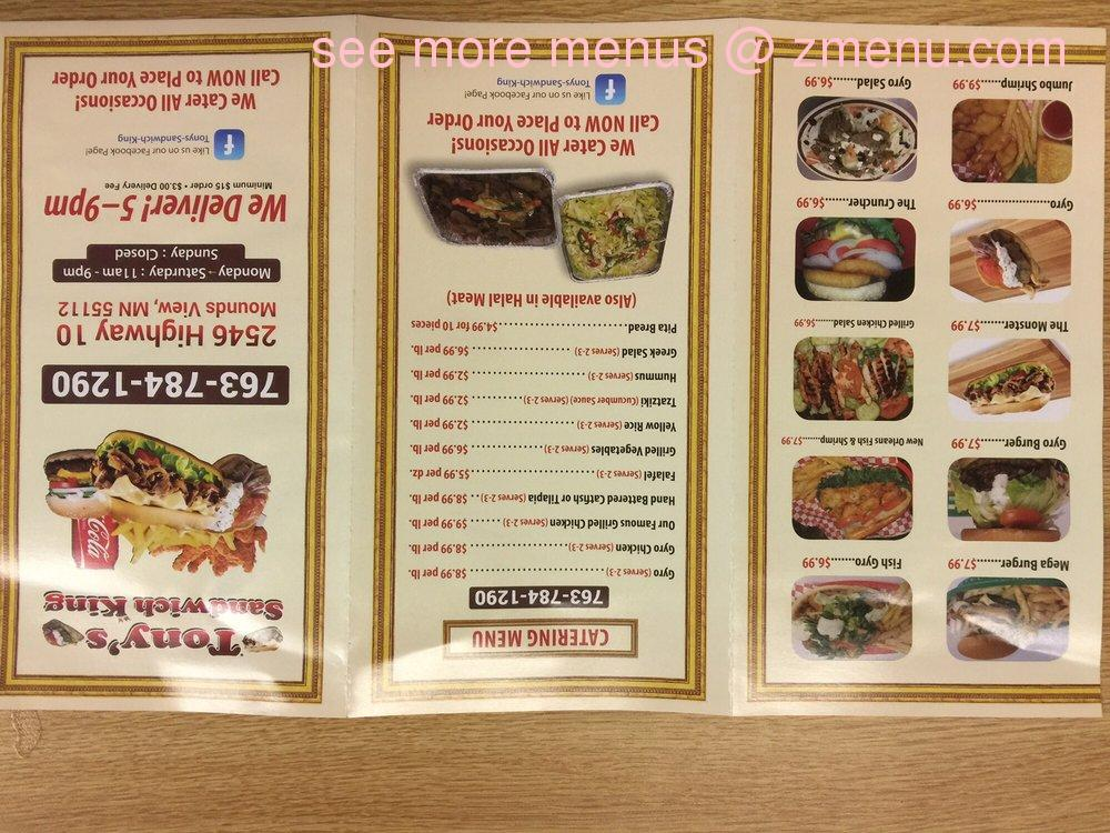 Online menu of tonys sandwich king restaurant mounds view note mightylinksfo