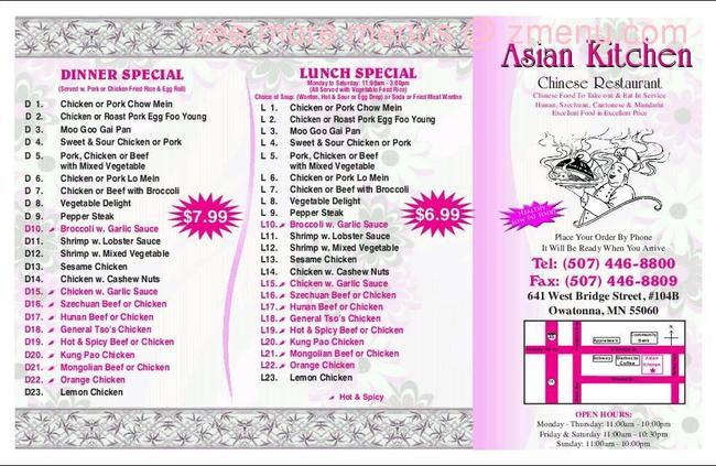 Online Menu Of Asian Kitchen Restaurant, Owatonna