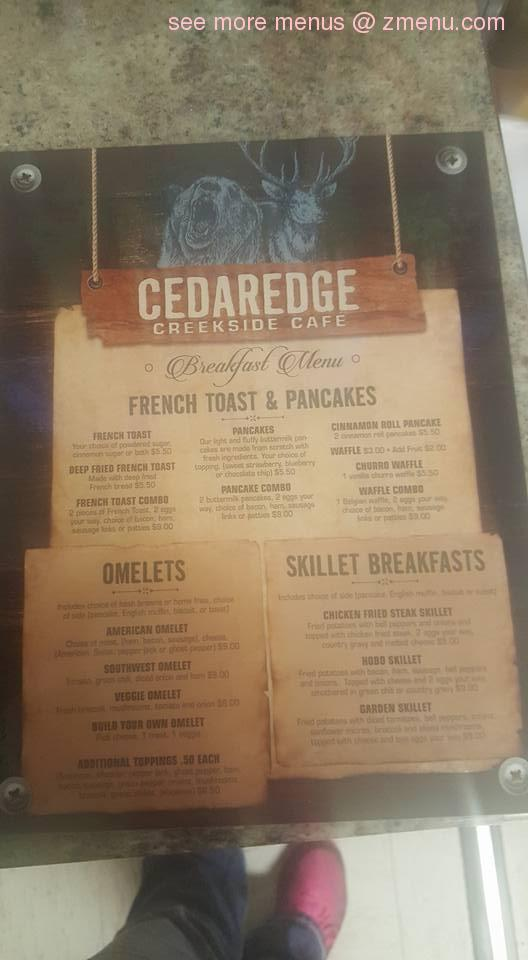 Creekside Cafe Cedaredge Menu