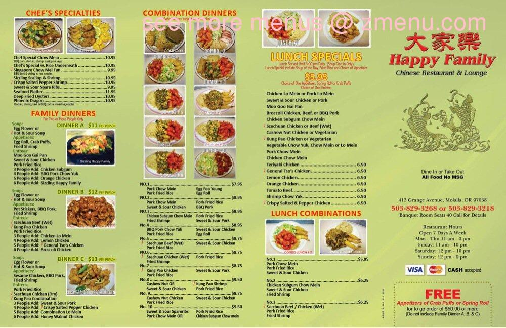 Happy Family Restaurant Molalla Menu