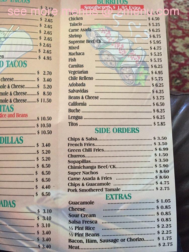 Alfonso S Mexican Food Menu