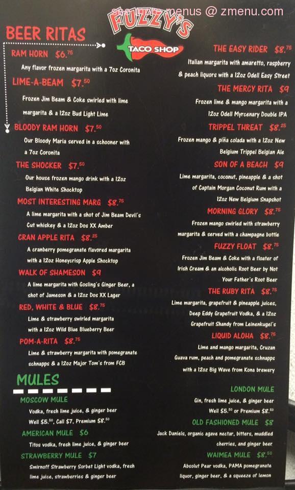 photo about Fuzzy's Tacos Printable Menu identified as Fuzzys Taco Retail outlet Menu Similar Keyword phrases Tips