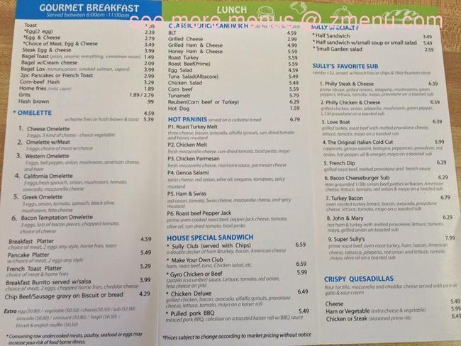Sully Cafe Chantilly Menu