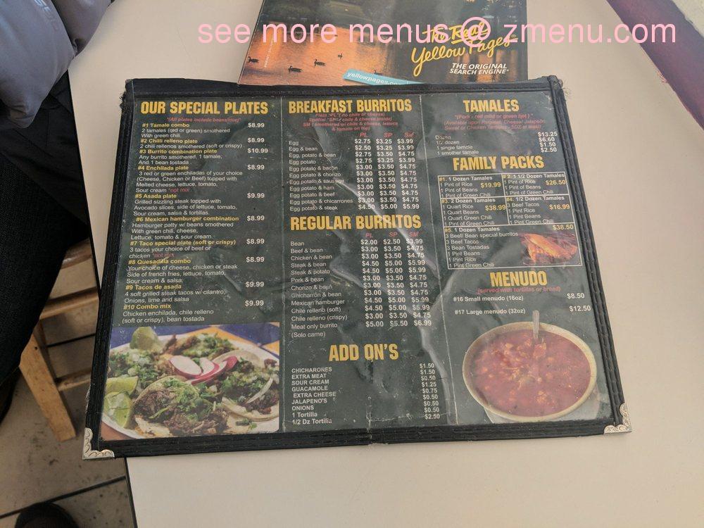 Online Menu Of Tamales Moreno Restaurant Lakewood Colorado
