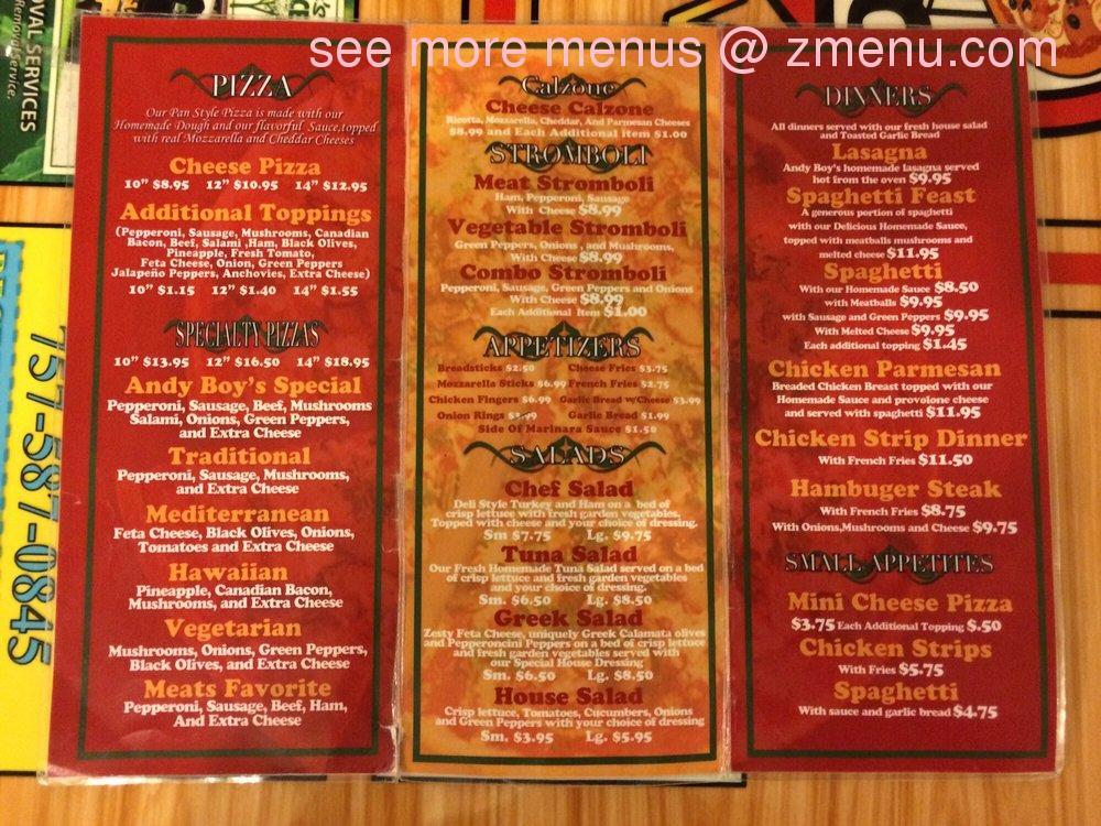 Online Menu of Andy Boy's Pizza Restaurant, Chesapeake, Virginia, 23321 - Zmenu