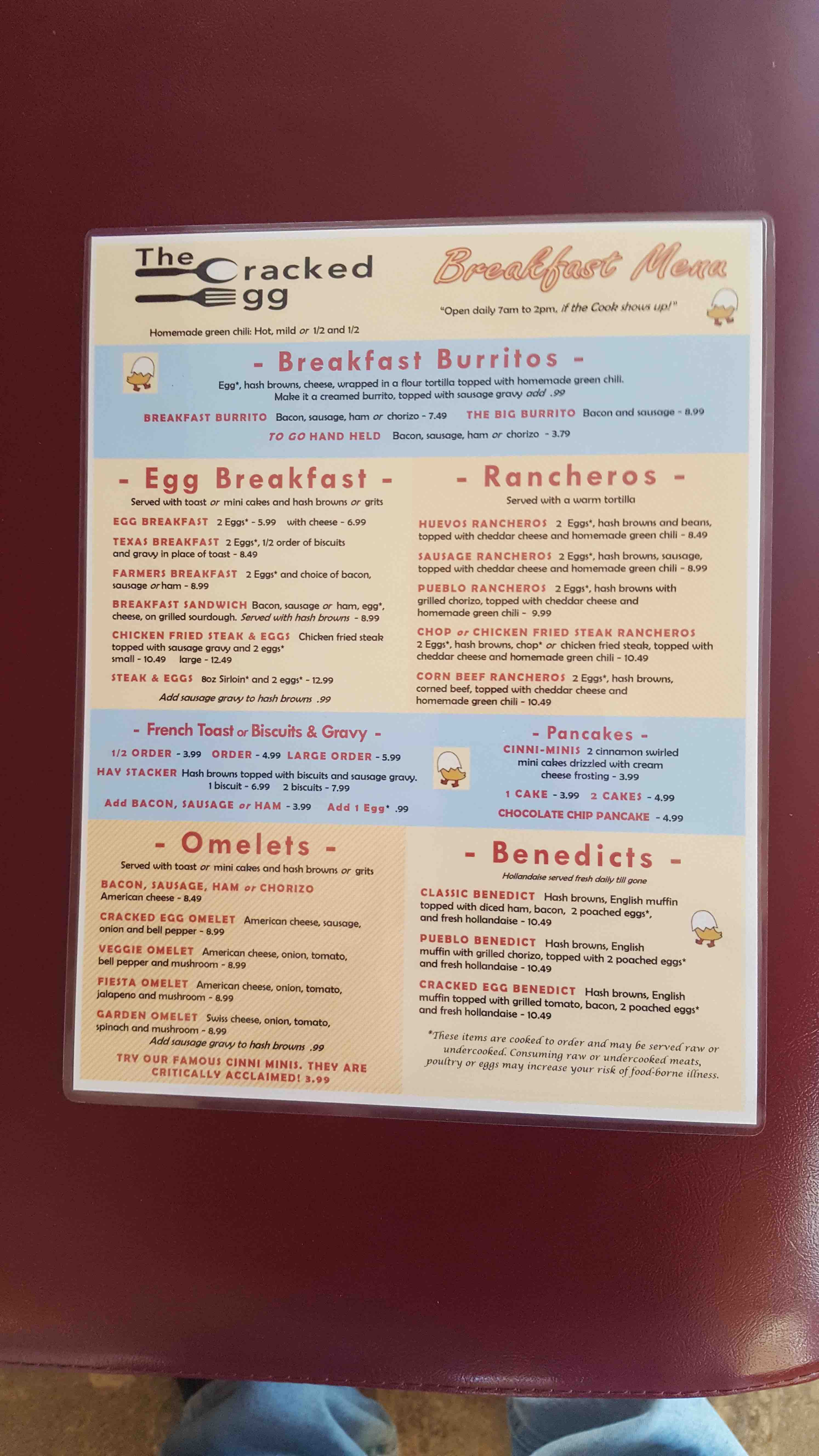 cracked egg milliken menu