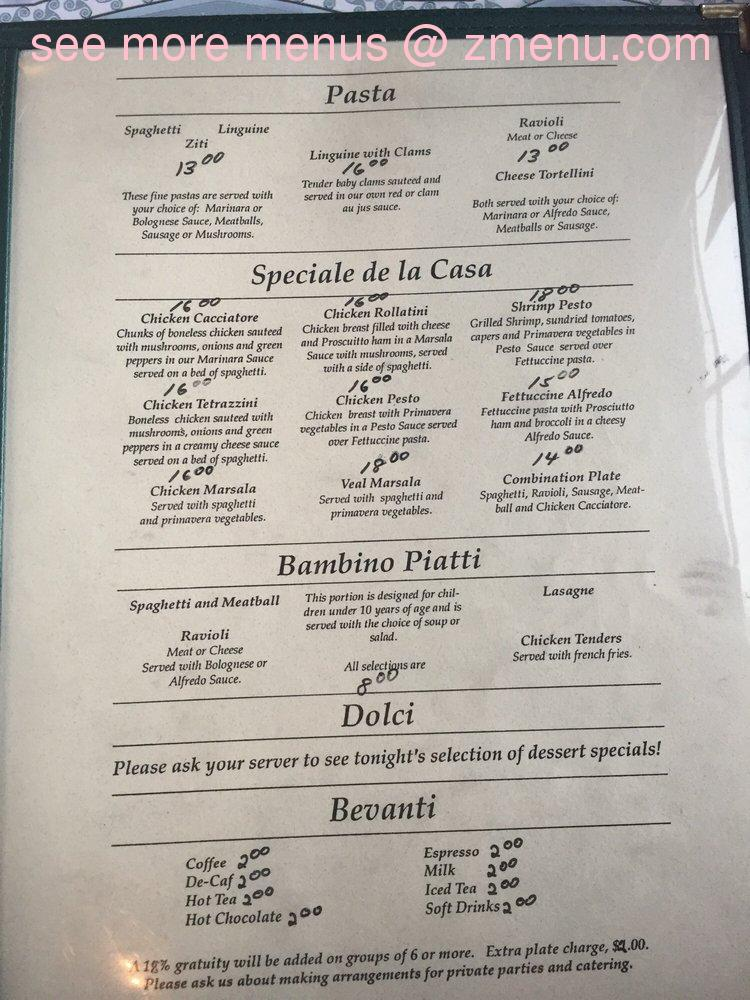 Cafe Cremosi Menu