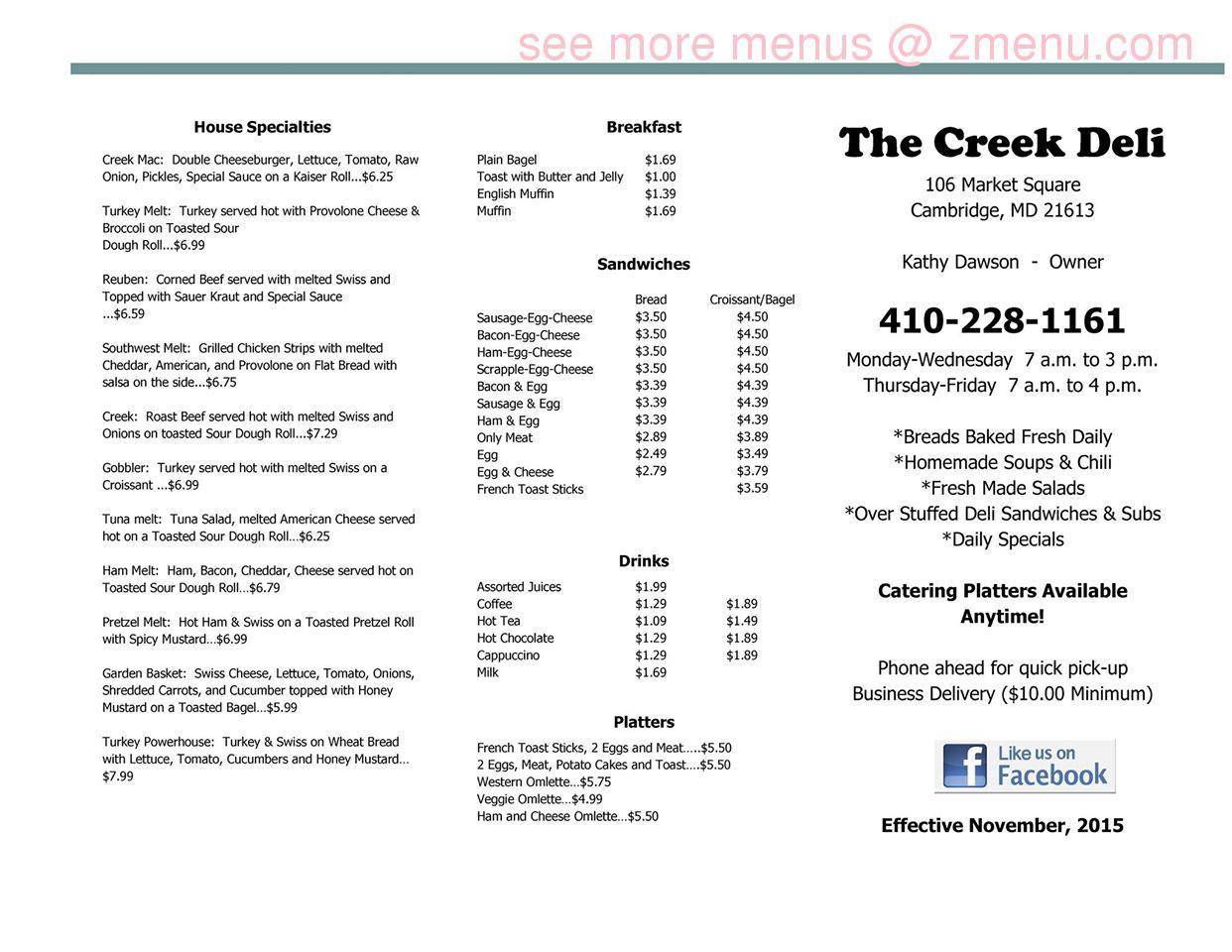 Online Menu of Creek Deli Restaurant, Cambridge, Maryland