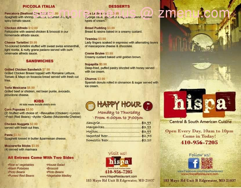 Hispa Restaurant Menu