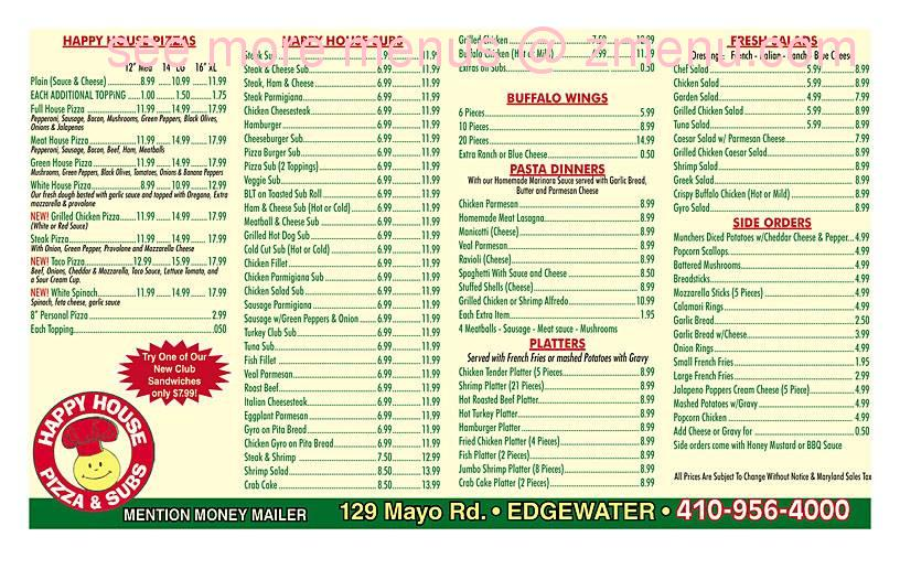 Online Menu Of Happy House Pizza Amp Subs Restaurant