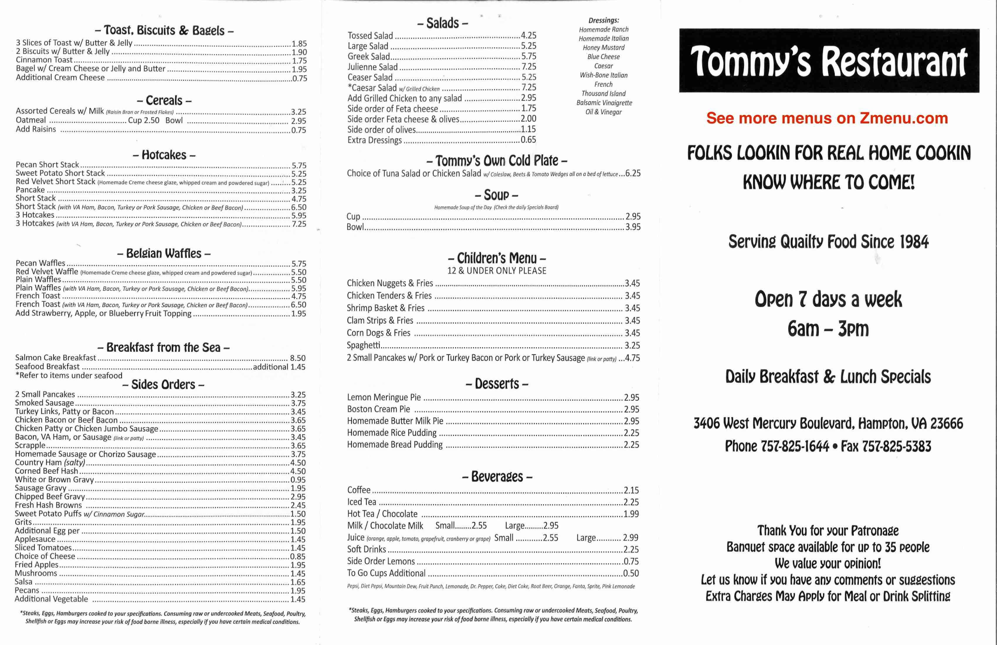 Online Menu Of Tommys Restaurant Restaurant Hampton