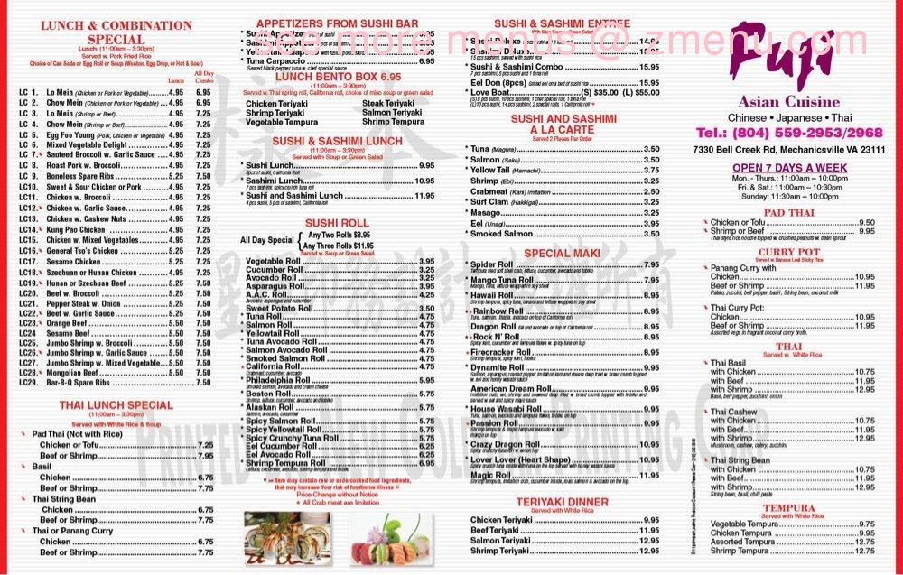 Fusion Cafe Asian Grill Menu
