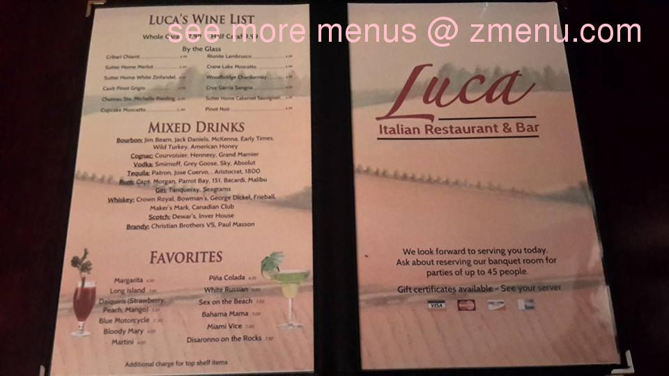 Online Menu Of Luca Italian Restaurant Restaurant Prince George