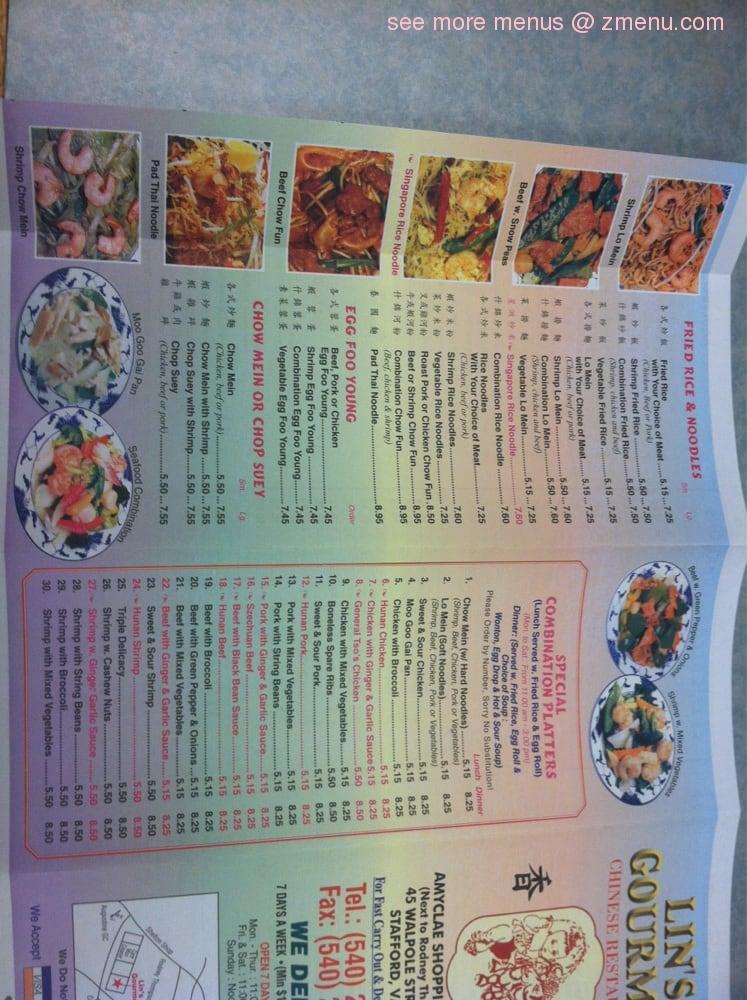 Online Menu of Lin\'s Gourmet Restaurant, Stafford, Virginia, 22554 ...