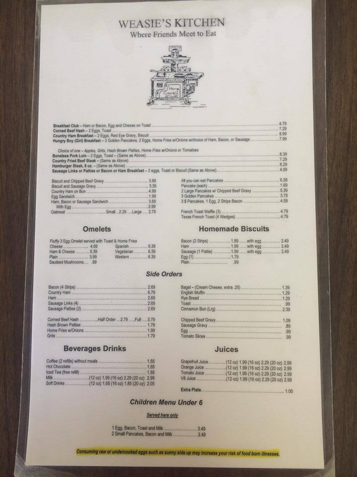 Weasie S Kitchen Waynesboro Menu