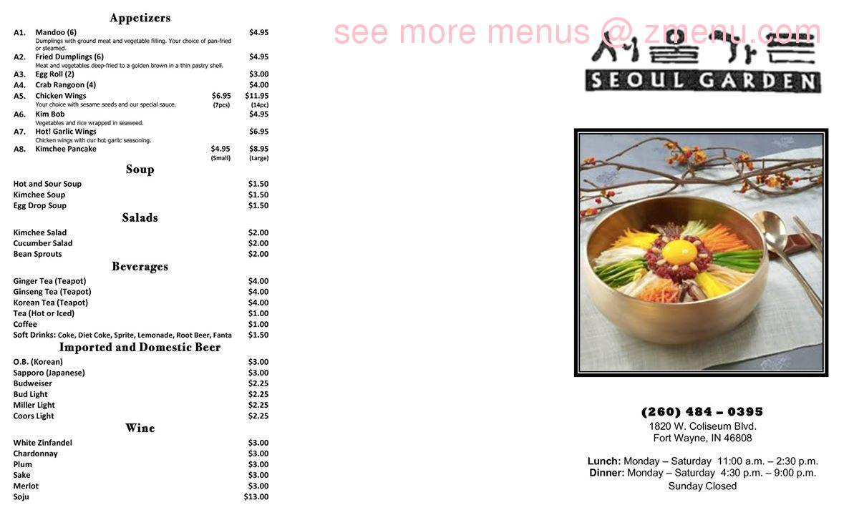 Online Menu Of Seoul Garden Korean Restaurant Restaurant Fort Wayne Indiana 46808 Zmenu