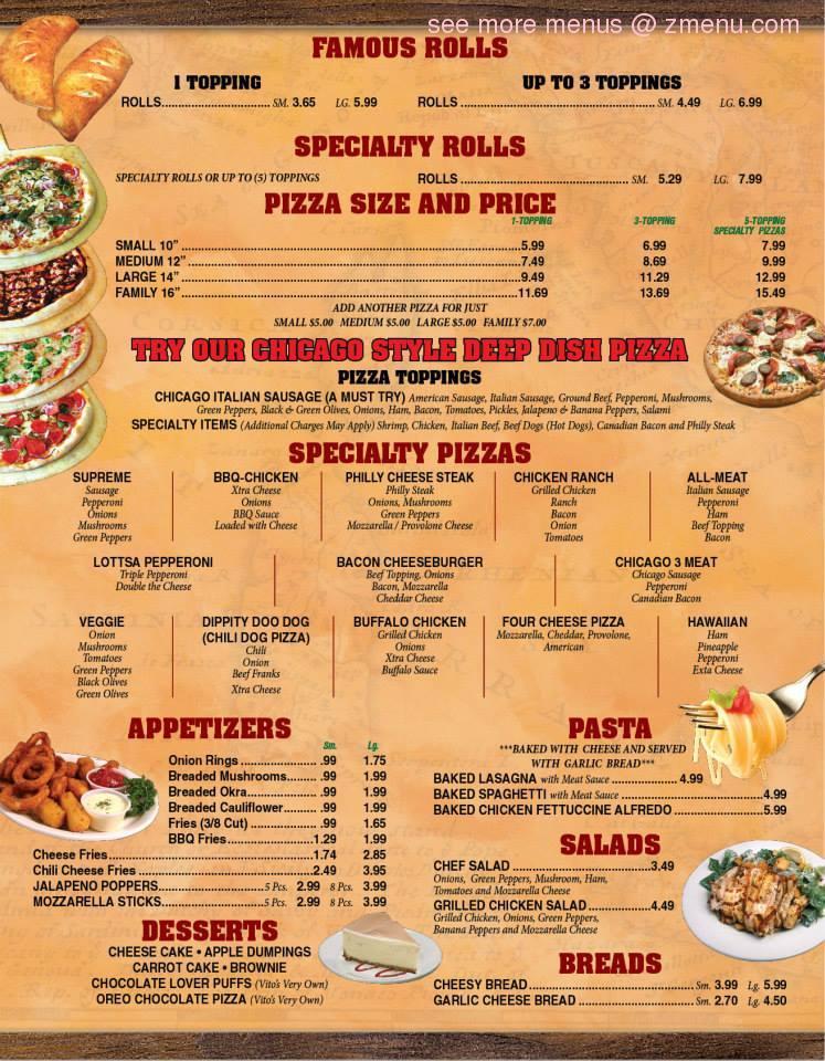 Online Menu of Pizza By Vito's Restaurant, Fort Wayne, Indiana, 46806 - Zmenu