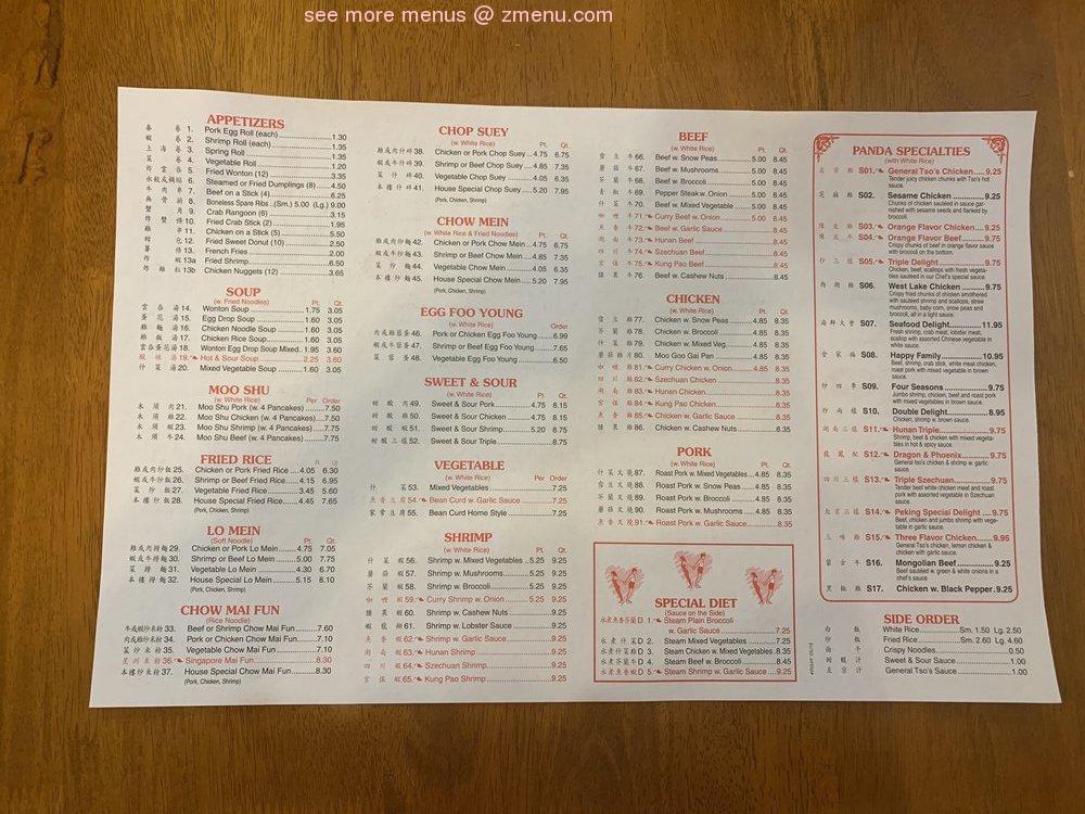 Menu At Panda Chinese Restaurant Fortville 21 S Main St
